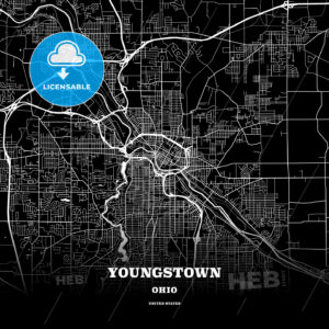Black map poster template of Youngstown, Ohio, USA - HEBSTREITS