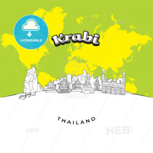 Krabi Thailand panorama drawing - HEBSTREITS