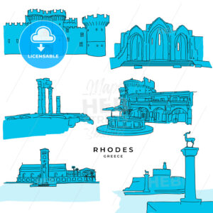 Rhodes Greece landmarks drawings filled - HEBSTREITS