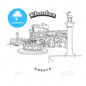 Rhodes Greece landmarks travel sign - HEBSTREITS