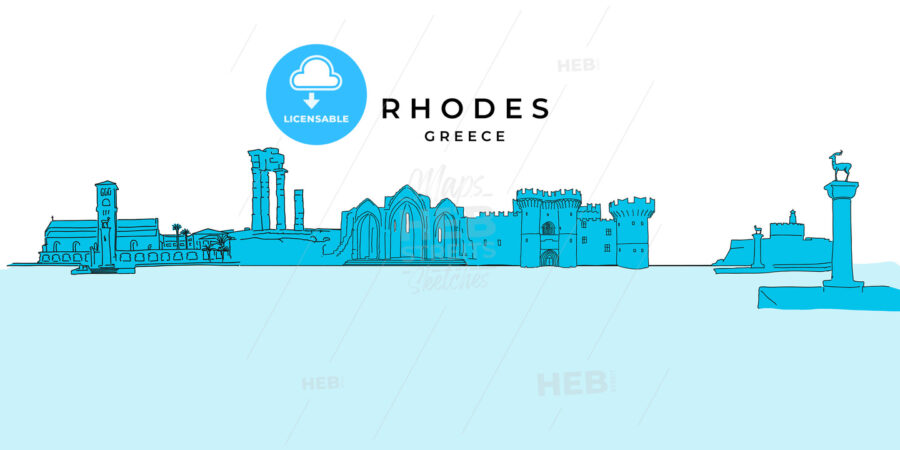 Rhodes Greece panorama drawing - HEBSTREITS