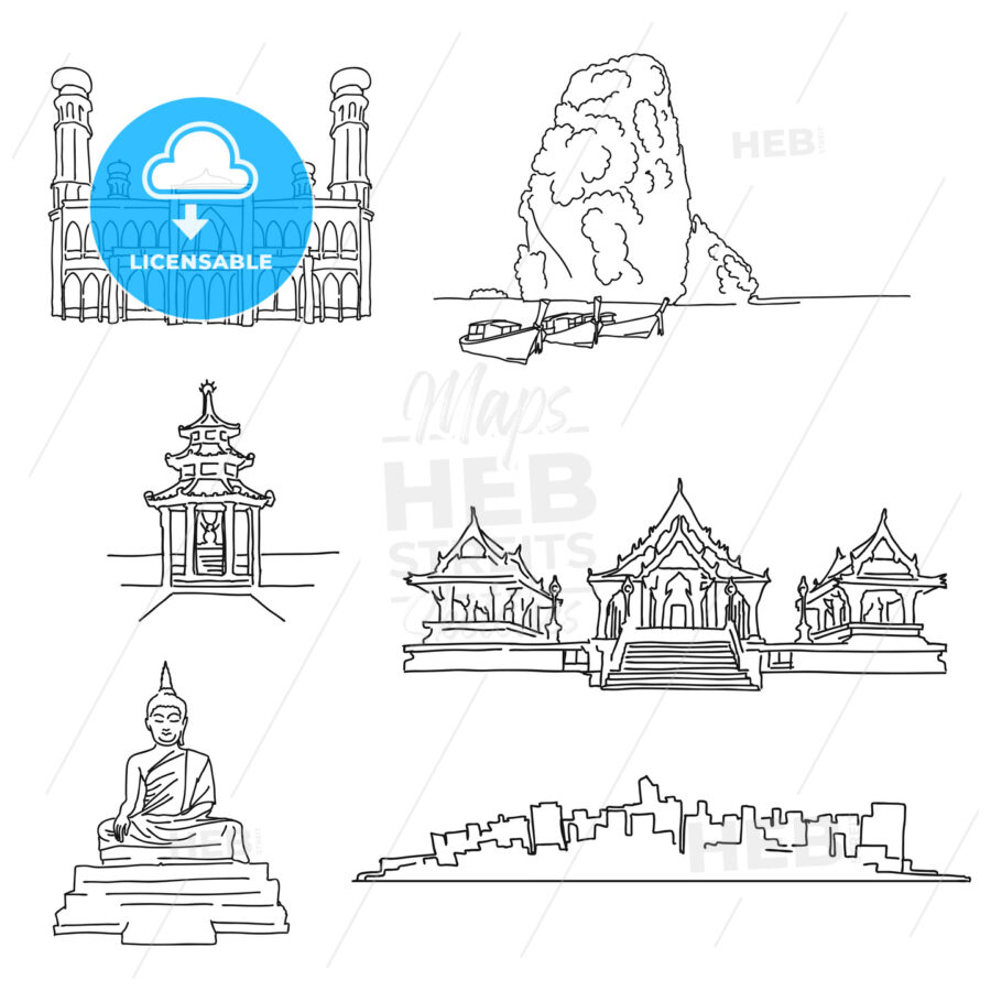 Thailand famous outline landmarks - HEBSTREITS
