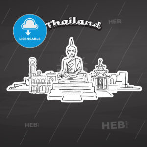 Thailand landmarks on blackboard - HEBSTREITS