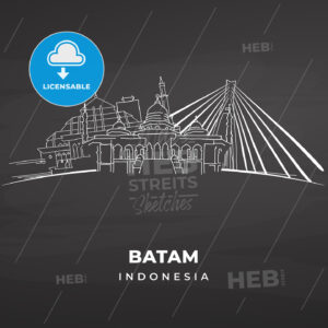 Batam Landmarks on blackboard - HEBSTREITS