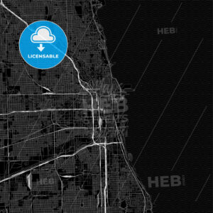 Black downtown map of Chicago, Illinois - HEBSTREITS
