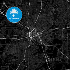 Black downtown map of Dallas, Texas - HEBSTREITS