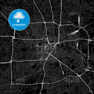 Black downtown map of Houston, Texas - HEBSTREITS