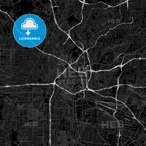 Black downtown map of Los Angeles, California - HEBSTREITS