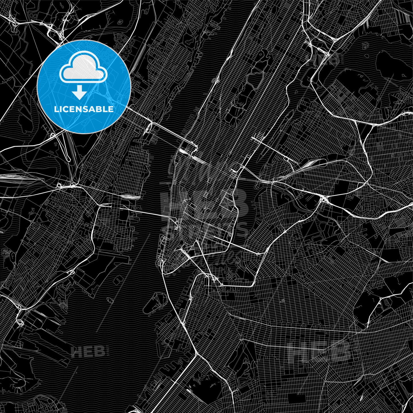 Black downtown map of New York City, New York