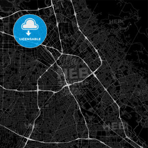Black downtown map of San Jose, California - HEBSTREITS