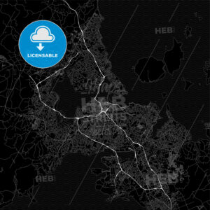 Dark area map of Auckland, New Zealand - HEBSTREITS