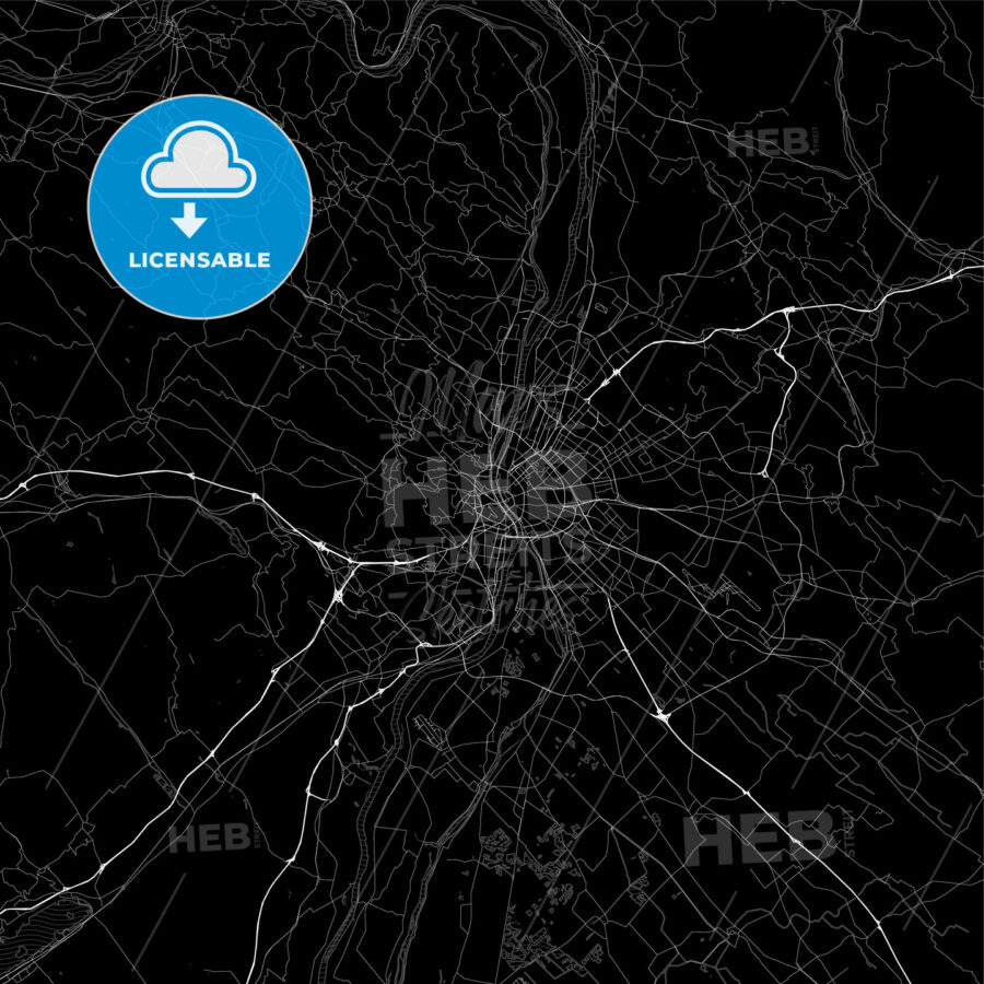 Dark area map of Budapest, Hungary - HEBSTREITS