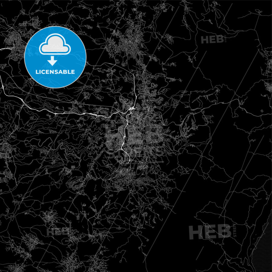 Dark area map of Jerusalem, Israel - HEBSTREITS