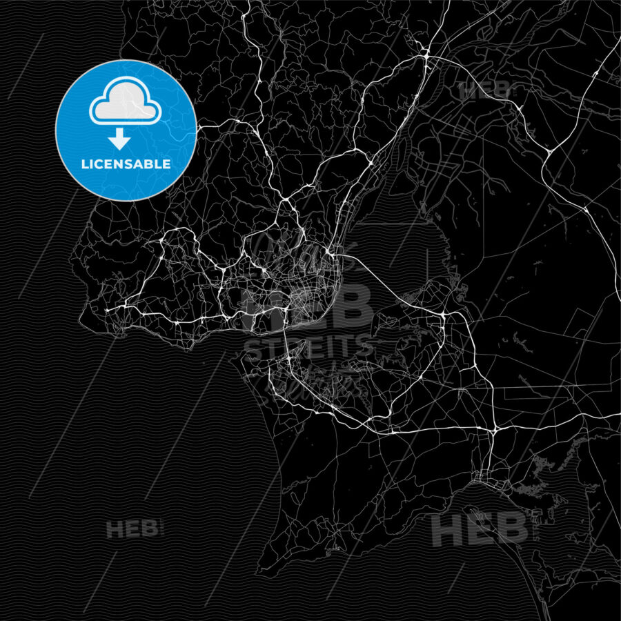 Dark area map of Lisbon, Portugal - HEBSTREITS