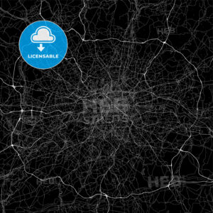Dark area map of London, United Kingdom - HEBSTREITS