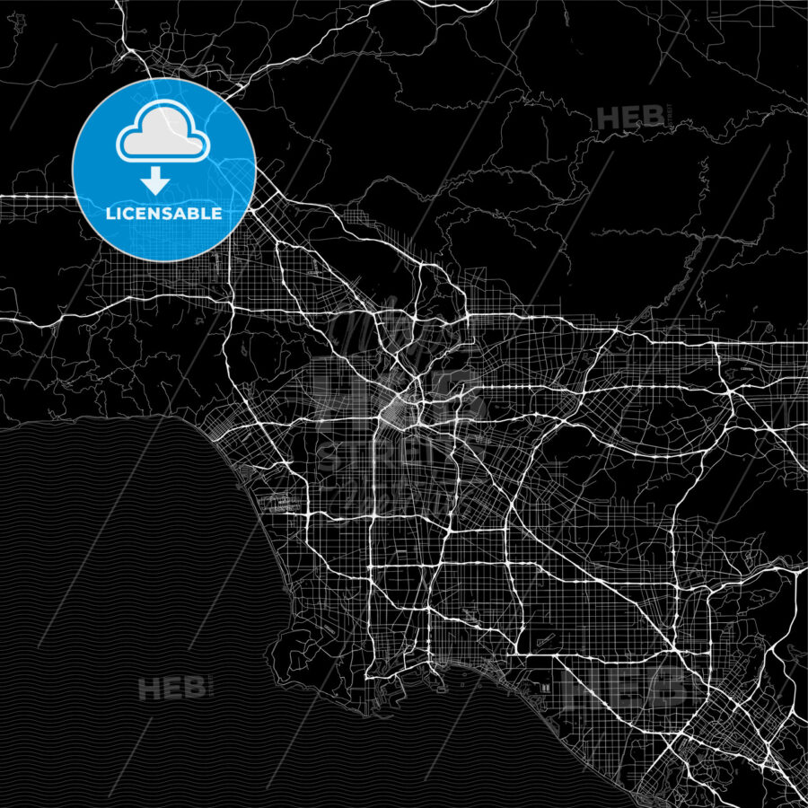 Dark area map of Los Angeles, United States - HEBSTREITS