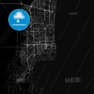 Dark area map of Miami, United States - HEBSTREITS