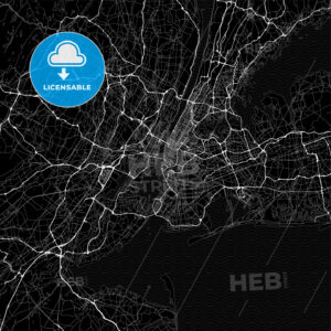Dark area map of New York City, United States - HEBSTREITS