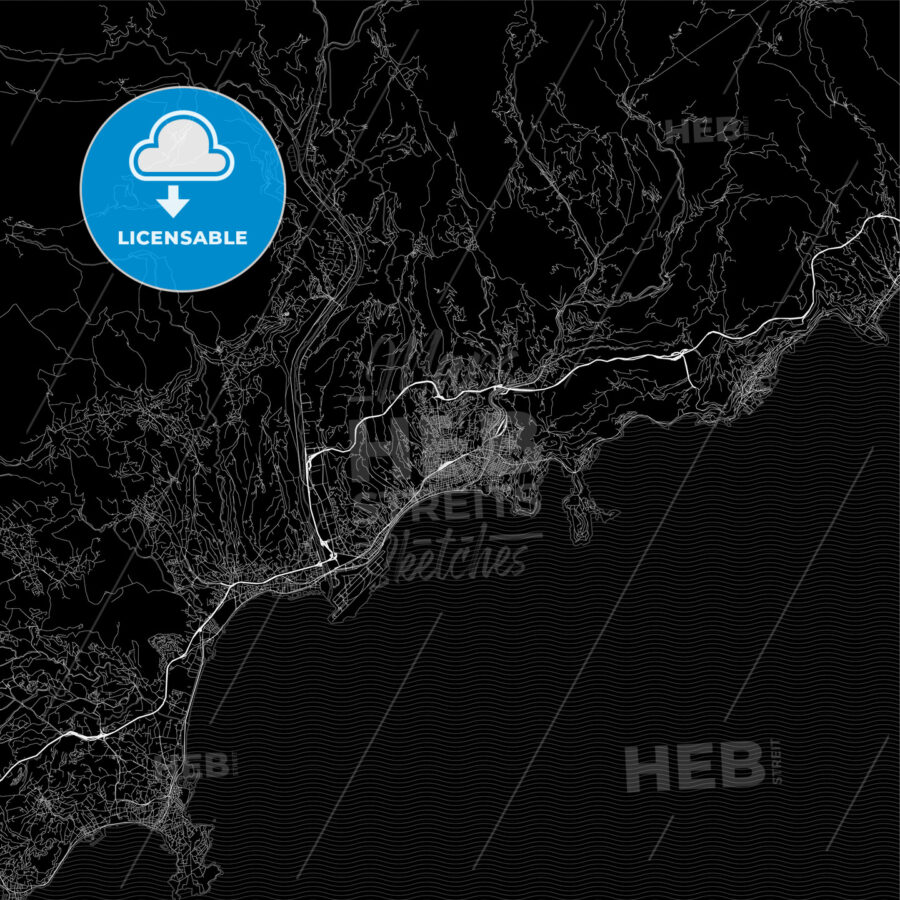 Dark area map of Nice, France - HEBSTREITS