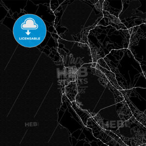 Dark area map of San Francisco, United States - HEBSTREITS