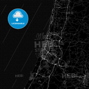 Dark area map of Tel Aviv, Israel - HEBSTREITS