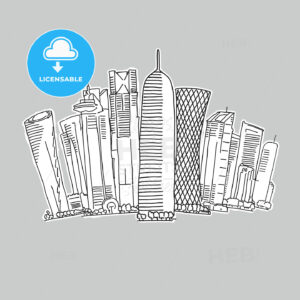 Doha Qatar skyline drawing - HEBSTREITS