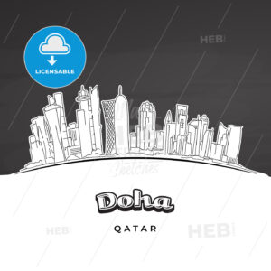 Doha Qatar skyline outline - HEBSTREITS