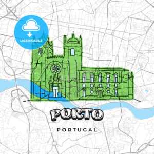 Porto Portugal drawing on map - HEBSTREITS