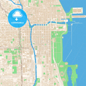 Street map of downtown Chicago, Illinois - HEBSTREITS
