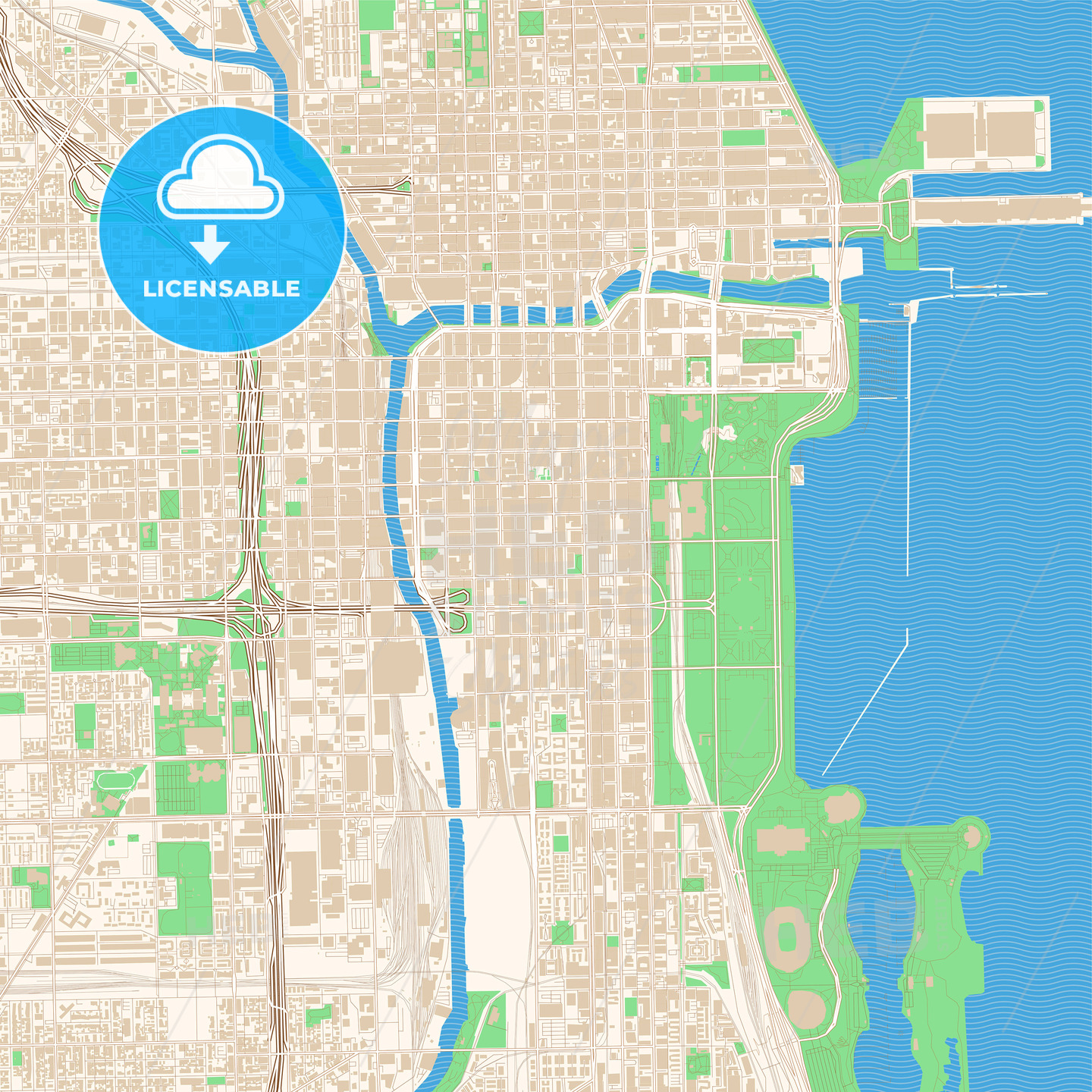 Street map of downtown Chicago, Illinois
