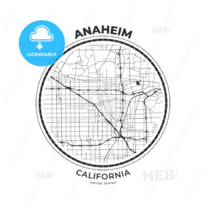 T-shirt map badge of Anaheim, California - HEBSTREITS