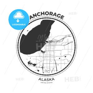 T-shirt map badge of Anchorage, Alaska - HEBSTREITS