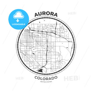 T-shirt map badge of Aurora, Colorado - HEBSTREITS