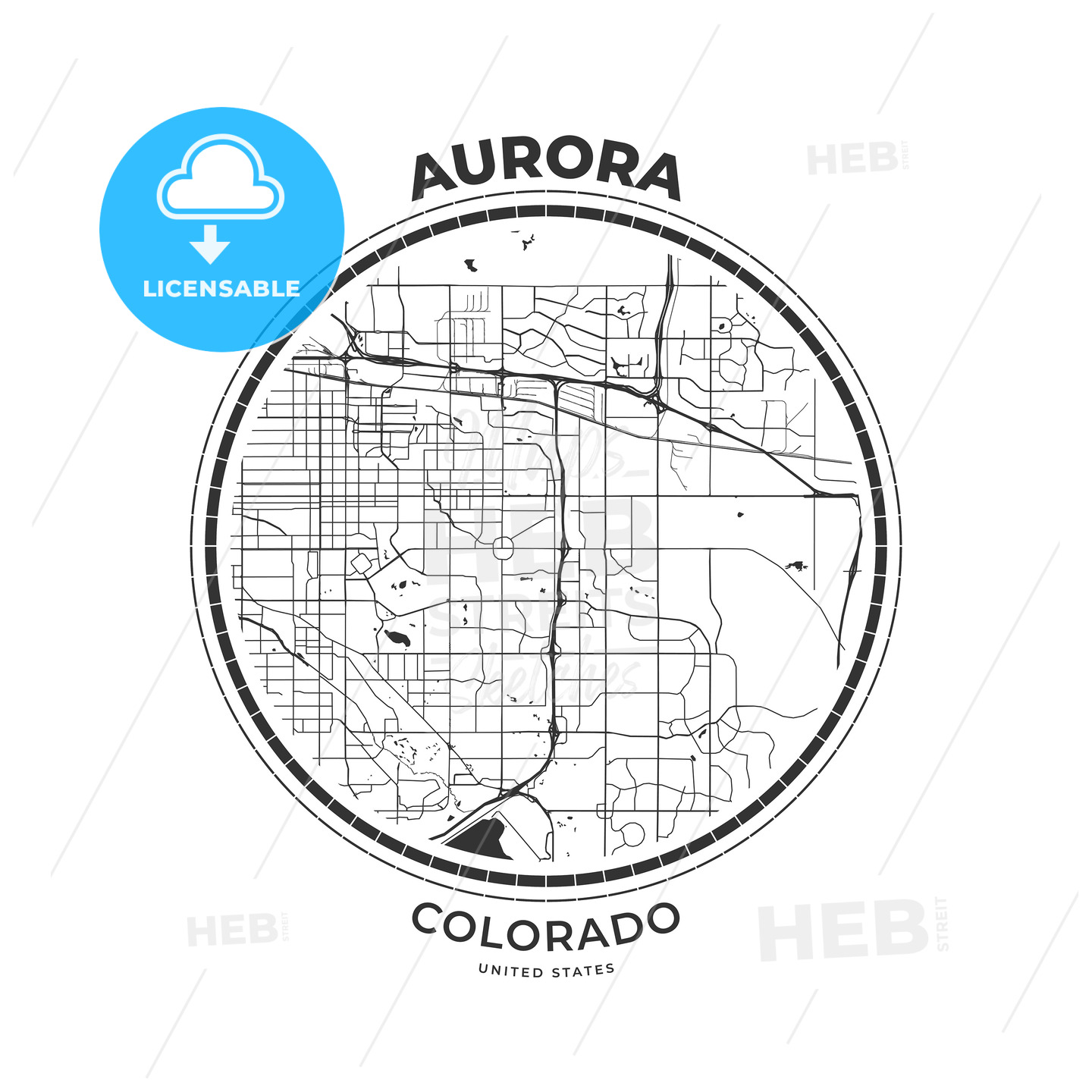 T-shirt map badge of Aurora, Colorado