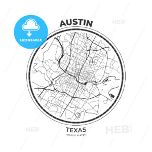 T-shirt map badge of Austin, Texas - HEBSTREITS