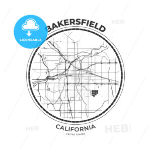 T-shirt map badge of Bakersfield, California - HEBSTREITS