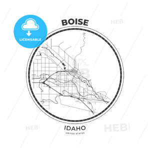 T-shirt map badge of Boise, Idaho - HEBSTREITS