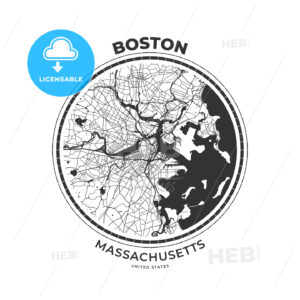 T-shirt map badge of Boston, Massachusetts - HEBSTREITS