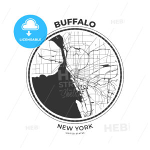 T-shirt map badge of Buffalo, New York - HEBSTREITS