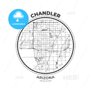 T-shirt map badge of Chandler, Arizona - HEBSTREITS