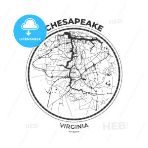 T-shirt map badge of Chesapeake, Virginia - HEBSTREITS