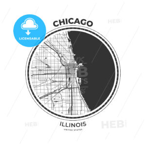 T-shirt map badge of Chicago, Illinois - HEBSTREITS