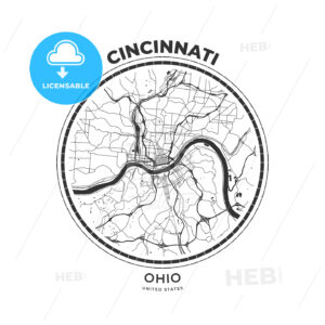 T-shirt map badge of Cincinnati, Ohio - HEBSTREITS