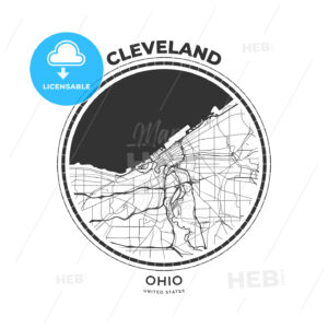 T-shirt map badge of Cleveland, Ohio - HEBSTREITS