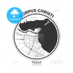 T-shirt map badge of Corpus Christi, Texas - HEBSTREITS