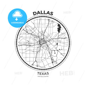 T-shirt map badge of Dallas, Texas - HEBSTREITS