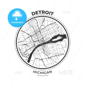 T-shirt map badge of Detroit, Michigan - HEBSTREITS