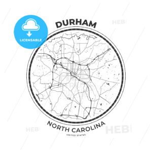 T-shirt map badge of Durham, North Carolina - HEBSTREITS