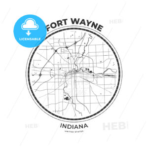 T-shirt map badge of Fort Wayne, Indiana - HEBSTREITS