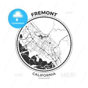 T-shirt map badge of Fremont, California - HEBSTREITS